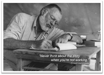 Hemingway writing a novel