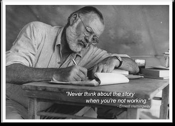 Hemingway writing a novel