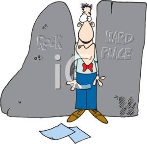 A Man Stuck Between A Rock And A Hard Place Royalty Free Clipart Picture 100415 125409 371042